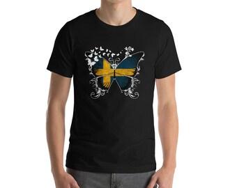 7285dde0 Swedish Flag Shirt Swedish T Shirt Sweden Shirt Sweden National Flag  Butterfly Gifts For Women Gifts For Her Girls Gifts DNA Gift Pride