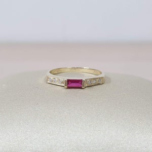 Delicate thin 14 karat gold genuine natural sapphire  and diamond gemstone engagement promise ring