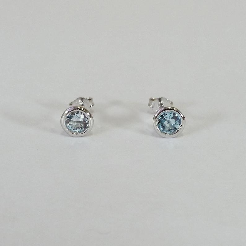b6d31d78c74b6 Genuine natural swiss blue topaz solid 14 karat white gold stud earrings