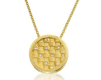 14k solid yellow gold basket weave design necklace on 14k solid gold chain set with 10 diamonds