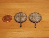 1 12 Scale Dollhouse Cast Metal Waffle Iron, Miniature Vintage Kitchen Tools