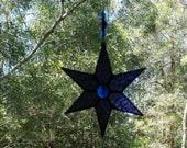 Stained Glass Star Purple Glass Beaded Celestial suncatcher by Indigo Mood