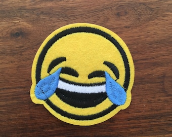 Smiley - Laugh Till You Cry - Iron on Appliqué Patch