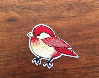 Bird - Red Robbin - Iron on Appliqué Patch