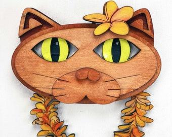 "Pōpoki Pōpoki - Aloha Cat with Plumeria Lei 8"" x 10"" Wood"