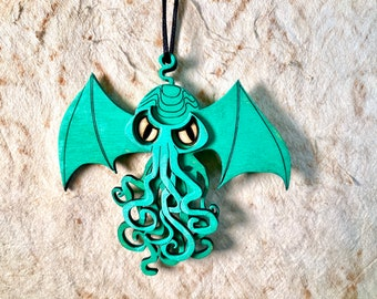Cthulhu Ornament - Wood painted with Acrylic