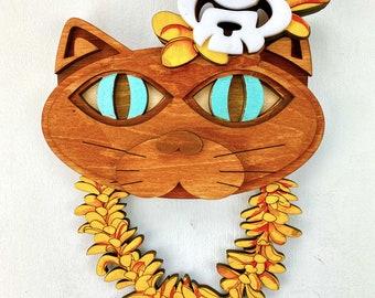 "Pōpoki Pōpoki - Aloha Wood Cat with Skull Lei 8"" x 10"""