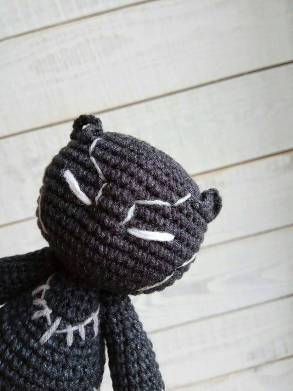Pantera negra ganchillo muñeca Amigurumi negro pantera juguete | Etsy