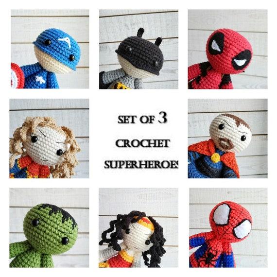 Häkeln-Superhelden-Rabatt-Paket 3er Set Puppen Amigurumi | Etsy