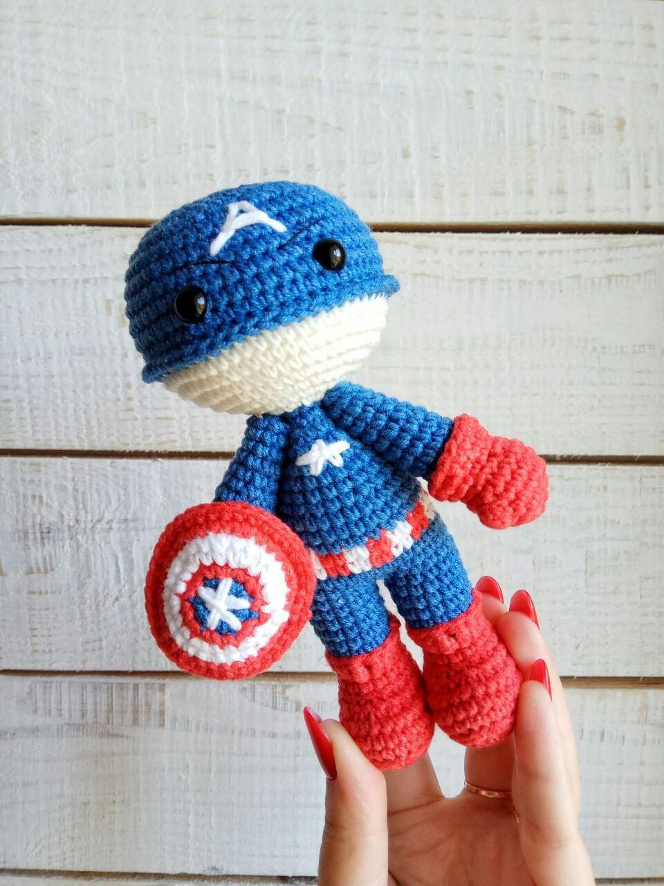 Captain America Crochet Doll Amigurumi Plush Superhero Captain Etsy