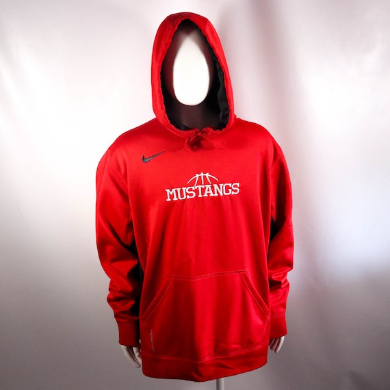 Red Embroidered Nike Swoosh Mustangs Pullover Ther