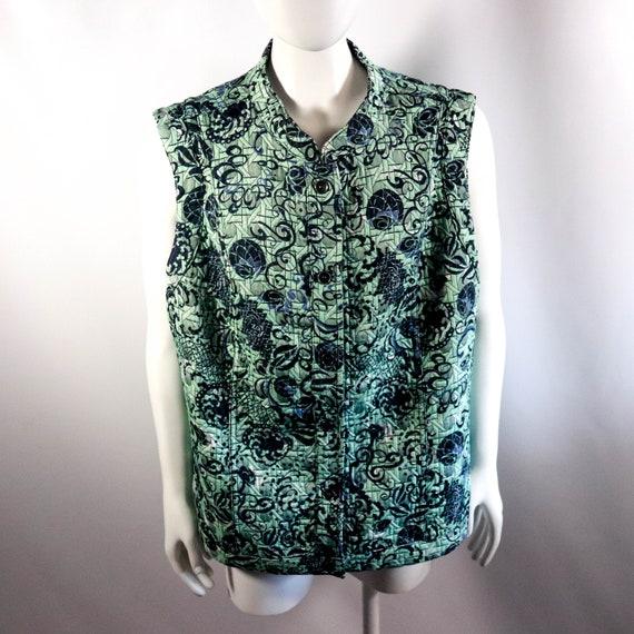 Green & Blue Reversible Button Up Vest Jacket