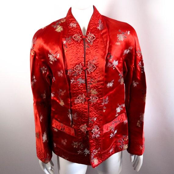 Red Asian Chinese / Japanese Flower Kimono Coat Ja