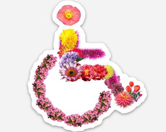 Beautiful Handicapped Symbol Made of Flowers Disability is Beautiful Sticker