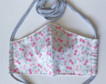 Very Cherry Double Layered 100% Cotton Face Mask With Pocket For Filter Insert And Removable Nose Wire