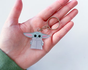 "Super Cute The Green Child Acrylic Fan Art Keychain 2"""