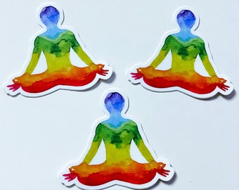 Watercolor Rainbow Pride Colorful Sukhasana Chakra Yoga Sticker