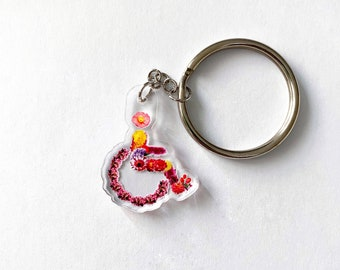 "Beautiful Handicapped Symbol Made of Flowers Disability is Beautiful 1"" Acrylic Keychain"
