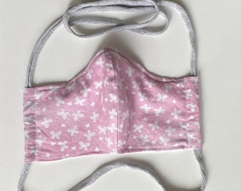 White Butterfly on Pink Background Double Layered 100% Cotton Face Mask With Pocket For Filter Insert And Removable Nose Wire