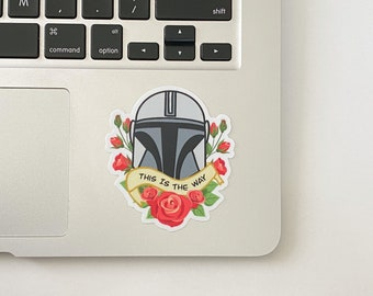 Helmet and Roses This Is The Way Mando Sticker