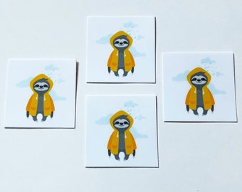 Happy Sloth Yellow Raincoat Sticker