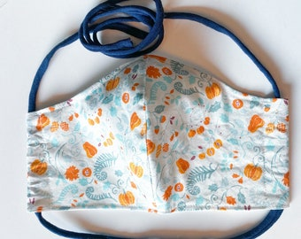 Autumn Pumpkins with Blue Accents  Double Layered 100% Cotton Face Mask With Pocket For Filter Insert And Removable Nose Wire