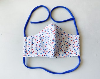 Red & Blue Stars on White  Double Layered 100% Cotton Face Mask With Pocket For Filter Insert And Removable Nose Wire July 4th