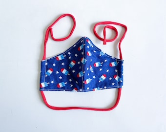 Rocket Pop Americana Double Layered 100% Cotton Face Mask With Pocket For Filter Insert And Removable Nose Wire July 4th