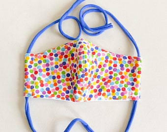 Rainbow Polka Dot Double Layered 100% Cotton Face Mask With Pocket For Filter Insert And Removable Nose Wire