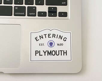 Entering Plymouth Massachusetts Town City Sign Sticker