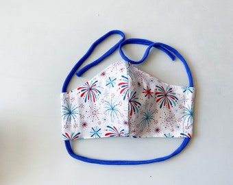 Red & Blue Fireworks on White Double Layered 100% Cotton Face Mask With Pocket For Filter Insert And Removable Nose Wire July 4th