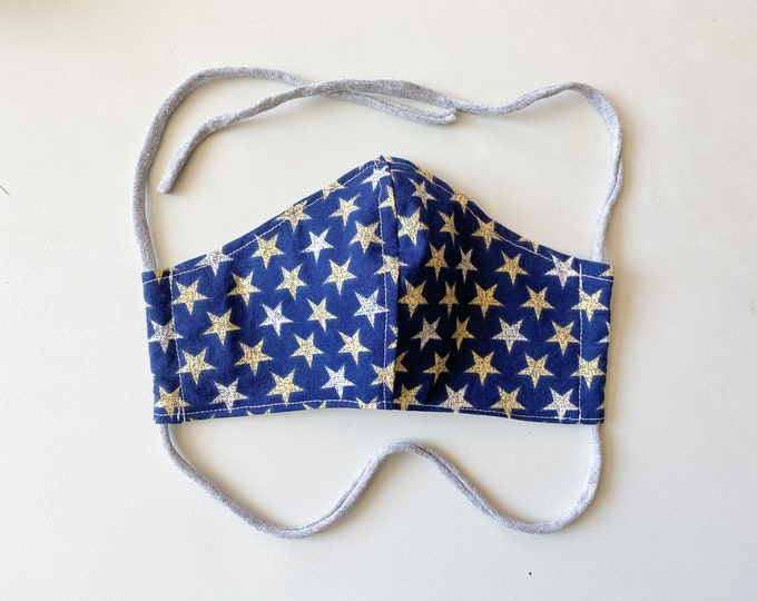 Featured listing image: Vintage Star Double Layered 100% Cotton Face Mask With Pocket For Filter Insert And Removable Nose Wire Americana July 4th