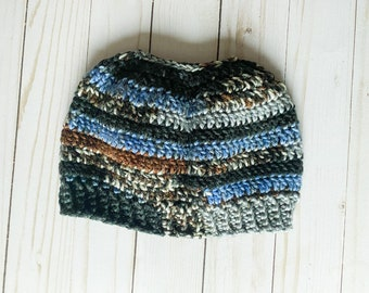 """Black Brown Blue Gray Neutral Stone Colors Handmade Messy Bun Ponytail Crocheted Beanie Hat Chunky """"Knit"""" Cute and Fun Winter Accessory"""