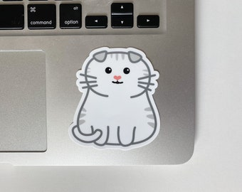 Chubby White Tabby Striped Scottish Fold Cat Happy Cute Chonky Smiling Cat Sticker