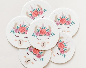 Cute Small Round Llama Unicorn Sticker