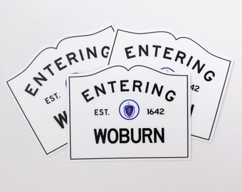 Entering Woburn Massachusetts Town Sign Sticker