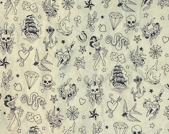 Tattoo Flash on Cream Double Layered 100% Cotton Face Mask With Pocket For Filter Insert And Removable Nose Wire
