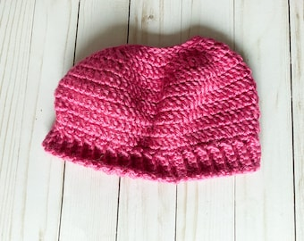 """Bright Pink Handmade Messy Bun Ponytail Crocheted Beanie Hat Chunky """"Knit"""" Cute and Fun Winter Accessory"""