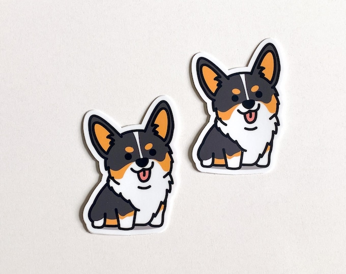 Featured listing image: Adorable Happy Cute Black and Tan Smiling Corgi Sticker