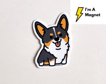 New Magnet - Adorable Happy Cute Black and Tan Smiling Corgi Magnet 3""