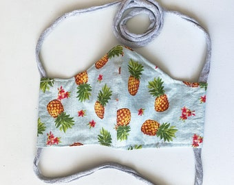 Pretty Pineapples Double Layered 100% Cotton Face Mask With Pocket For Filter Insert And Removable Nose Wire