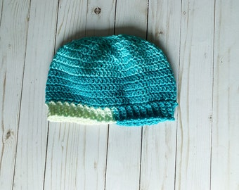 """Shades of Teal Blue and Cream Handmade Messy Bun Ponytail Crocheted Beanie Hat Chunky """"Knit"""" Cute and Fun Winter Accessory"""