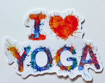 I Love Yoga Paint Splatter Bright And Colorful Sticker