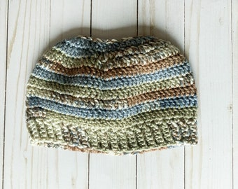 """Green Brown Blue Earth-tone Neutral Colors Handmade Messy Bun Ponytail Crocheted Beanie Hat Chunky """"Knit"""" Cute and Fun Winter Accessory"""
