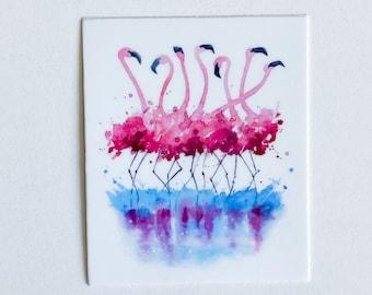 Adorable Happy Cute Pink Flamingo Flock Sticker