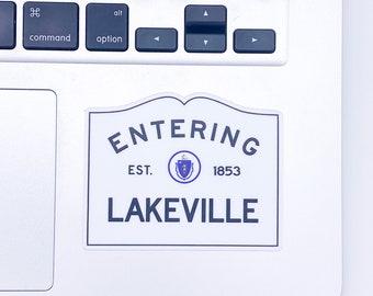Entering Lakeville Massachusetts Town Sign Sticker