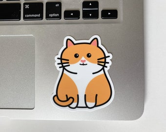 Chubby Orange and White Cat Happy Cute Chonky Smiling Cat Sticker