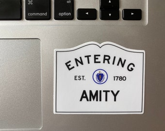 Entering Amity Massachusetts Town Sign Sticker JAWS TOWN