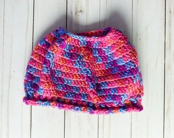 """Bright Pink Blue Purple Orange Multicolor Handmade Messy Bun Ponytail Crocheted Beanie Hat Chunky """"Knit"""" Cute and Fun Winter Accessory"""