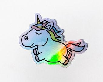 Happy Pastel HOLOGRAPHIC Magical Jumping Unicorn Sticker